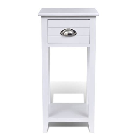 White Side Table With Drawer by Wooden Telephone Side Table With Drawer In White Buy