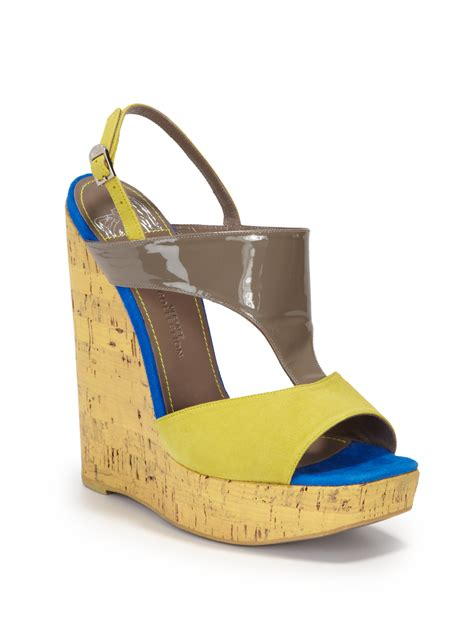 sandals yellow wedge sandals
