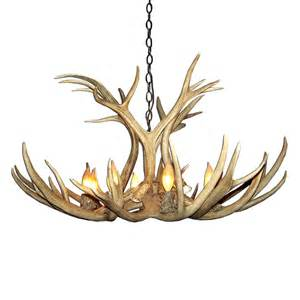 Deer Antler Chandelier Canadian Antler Clr 10 Reproduction Single Tier Mule Deer