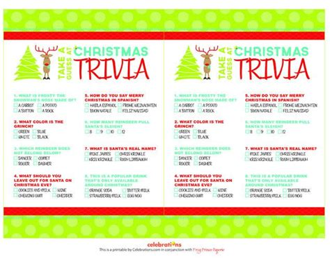 christmas games printable for adults printable trivia