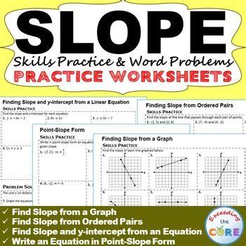 slope words slope y intercept homework worksheets skills practice