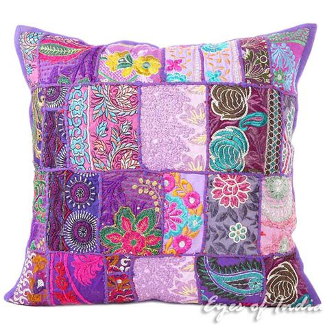 bohemian couch cover 20 quot purple decorative patchwork sofa pillow throw cover