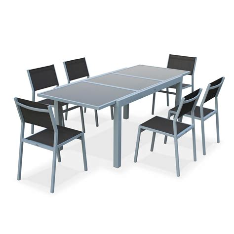 table jardin en salon de jardin 6 chaises table 224 rallonge extensible 150 210cm alu textil 232 ne