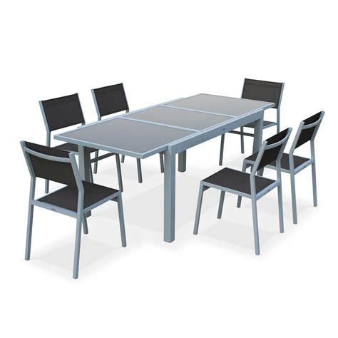 fly table de jardin salon de jardin 6 chaises table 224 rallonge extensible 150 210cm alu textil 232 ne