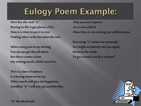 ppt what is a eulogy powerpoint presentation id ppt dead verbs funeral powerpoint presentation id 2616086