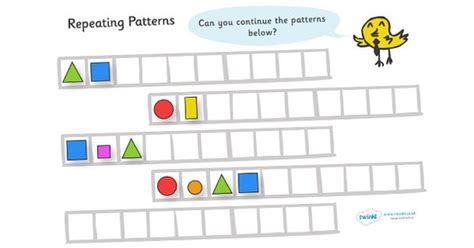 Shape Pattern Twinkl | twinkl resources gt gt repeating pattern worksheets shapes