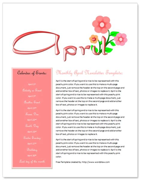free april newsletter template by worddraw