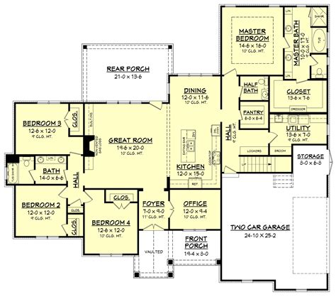 ehouse plans 4 bedrm 2641 sq ft country house plan 142 1170
