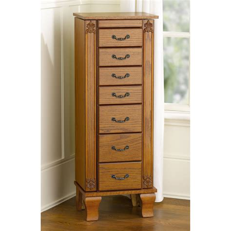 Sears Jewelry Armoire Clearance by Essential Home Oak Jewelry Armoire Home Furniture Accent Furniture Jewelry Armoires