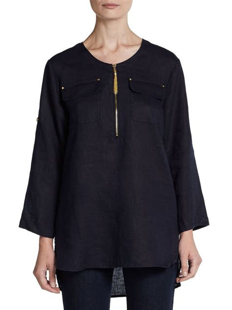 Tab Sleeved Linen Top tracy roll tab sleeve linen tunic in blue lyst