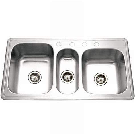 3 bowl stainless steel kitchen sinks houzer premiere gourmet series drop in stainless steel 41