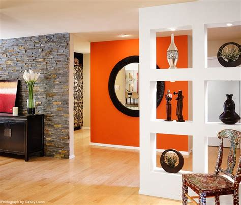 orange accent wall living room design color punch vibrant orange