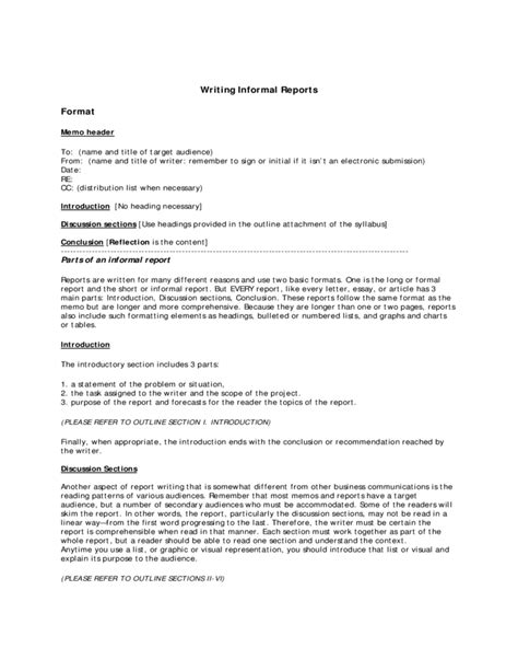 Report Format Essay by Informal Report Writing Format Free