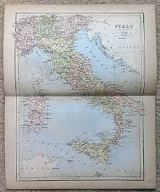 antique map of italy by j bartholomew 1877 usd 20 00 end