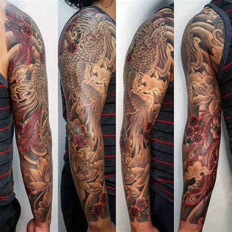 phoenix tattoo quarter sleeve black and red japanese phoenix sleeve tattoo ideas for men