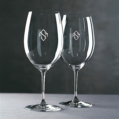 monogram barware monogrammed riedel vinum cabernet merlot bordeaux wine glasses diamond block set of