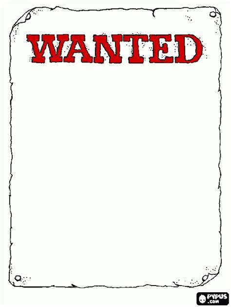 printable wanted poster wanted poster colouring pages
