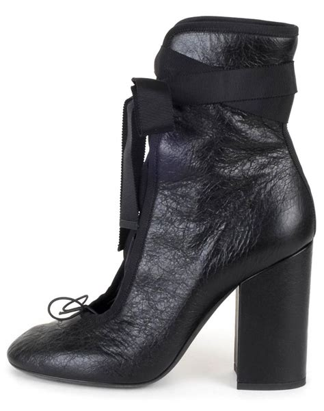 up m bel valentino black lace up ballet boots booties size eu 39