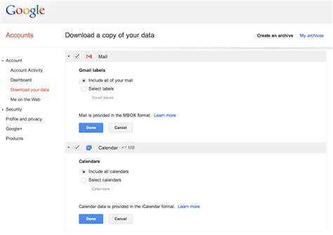 Calendrier Gmail Takeout Les Donn 233 Es De Gmail Et Du Calendrier
