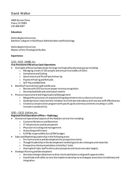 Walker Resume by David Walker Resume