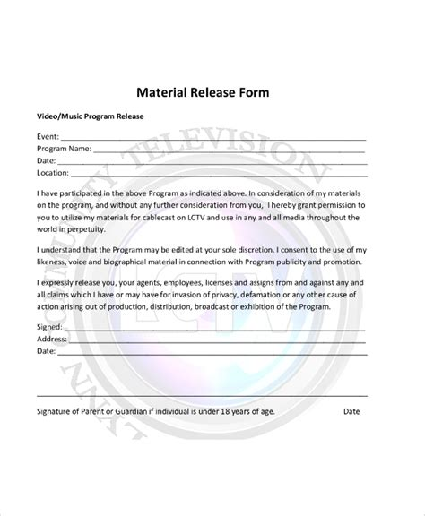 material release form template sle material release form 8 exles in word pdf