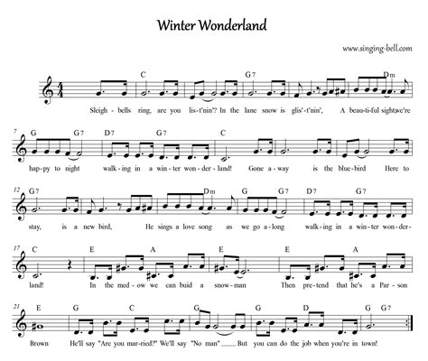 printable lyrics for walking in a winter wonderland free christmas carols gt winter wonderland