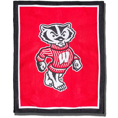 the jardine collection bucky badger knit blanket