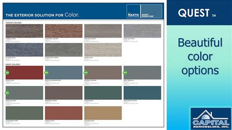 mastic siding color chart quest siding sales installation services md dc va ga