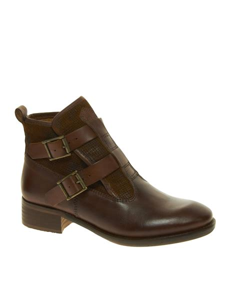 asos bertie poddy buckle ankle boots in brown lyst