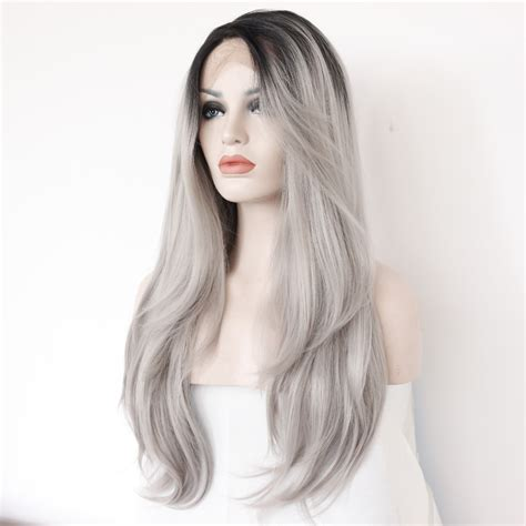 silver fox wigs for women over 50 silver color wigs for women over 50 two tones ombre lace