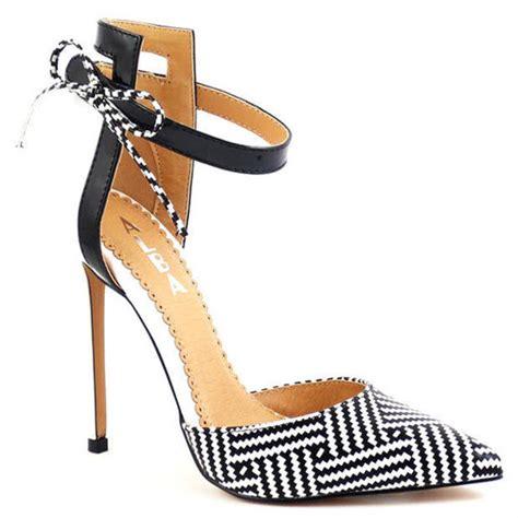 black and white chevron heels shoes heels chevron tribal pattern geometric black