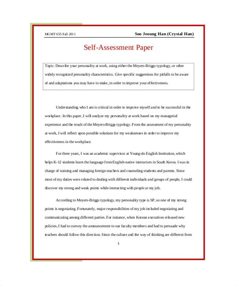 Self Assessment Sle Essay self assessment essay sle 5 exles in word pdf