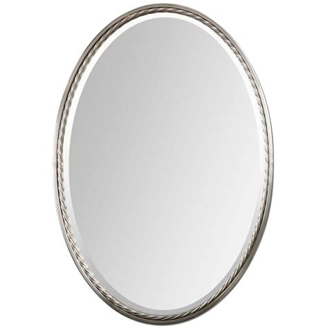 Oval Mirror Bathroom Shop Global Direct Nickel Beveled Oval Wall Mirror At Lowes