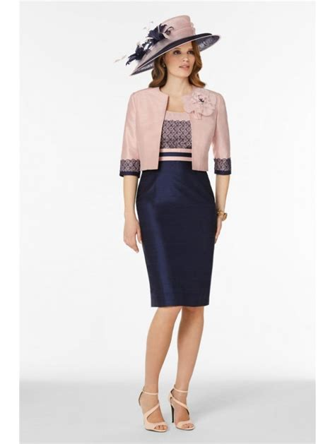 Dress Perempuan Navy Pink condici 90385 silk dress and bolero with lace trim navy pink