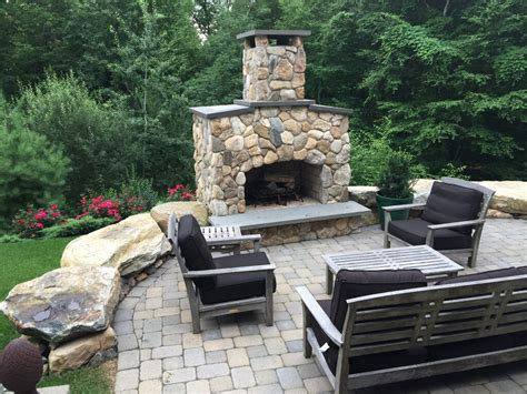 outdoor fieldstone fireplace avon landscape solutions maintenance