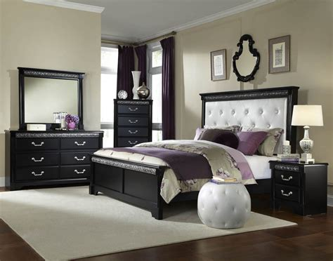 Padded Headboard Bedroom Sets Standard Furniture Venetian Black 5 Piece Panel Bedroom