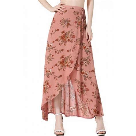 pink high waist floral pattern wrap boho maxi skirt
