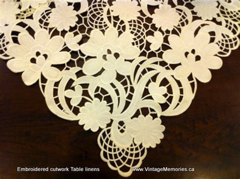 cutwork embroidered table linens vintage memories tablecloths runners placemats doilies
