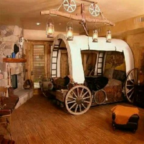 I Would Love This Western Themed Room Love The Wagon Bed Western Themed Bedroom Decor