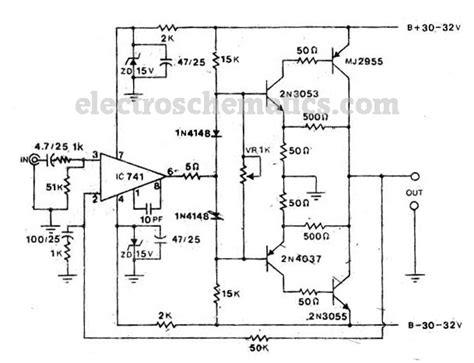2n3055 transistor lifier schematic 2n3055 50w audio lifier