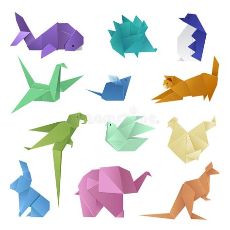origami style of different paper animals geometric