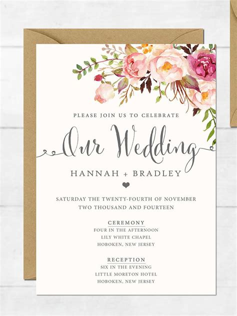 printable card invitation template wedding invitation printable wedding invitation