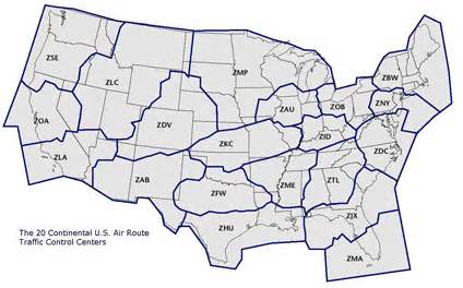 us artcc map air traffic in america