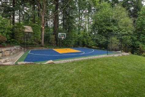 Backyard Sport Court Ideas Traditional Home Sport Court Backyard Basketball Court Design Pictures Remodel Decor And