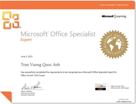 Ms Office Certification by Certification Iactonline