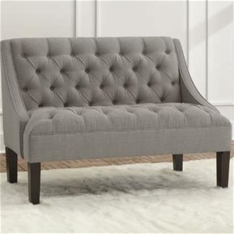 Grey Settee Skyline Furniture Linen Tufted Swoop Arm Settee Wayfair