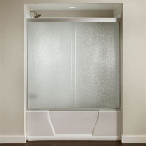 bathtub sliding glass door 60 in x 56 3 8 in framed sliding bathtub door kit in silver with pebbled glass