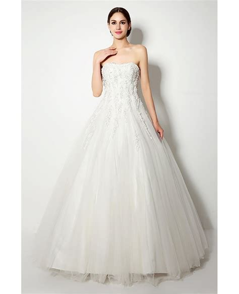 Wedding Dresses Inexpensive by Inexpensive Strapless Lace Ballroom Bridal Gown For