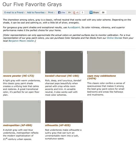 benjamin moore favorite grays benjamin moore 5 favorite grays paint colors pinterest