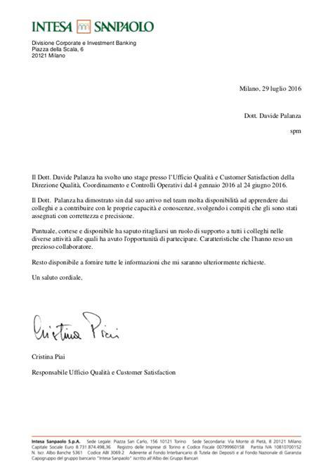 Esempi Lettere Di Referenze by Palanza Lettera Di Referenze Luglio 2016